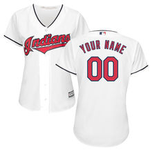 MLB Women's Cleveland Indians White Home Cool Base Custom Jersey(China)