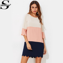 Sheinside Cut And Sew Scalloped Patchwork Dress Women Color Block Round Neck 3/4 Sleeve Shift Dress 2017 Casual Dresses(China)