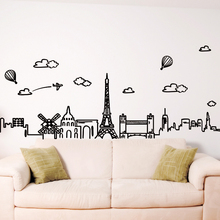 [SHIJUEHEZI] Customized Eiffel Tower Wall Sticker PVC Material Famous Buildings Wall Art for Living Room Glass Window Decoration(China)