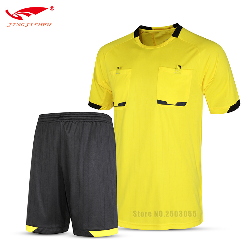 2017 Men Professional Survetement Soccer Referee Jersey Sets Referee Judge Uniform Short +Shirt Tracksuits 5 Colors Referee Kits(China)