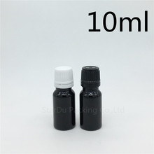 Free Shipping 600pcs 10ML Black Bottle , 10cc Vials Essential Oil Bottle with tamper evident cap Perfume glass bottles(China)