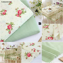 40*50cm 100% Green little flower cotton fabric DIY patchwork Sewing cushion quilting Green tablecloth Home textile fabrics(China)