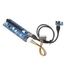 2017 New PCIe VER 006 PCI-E 1X to 16X Powered Riser Adapter Card w/ 60cm USB 3.0 Extension Cable & MOLEX to SATA Power Cable(China)