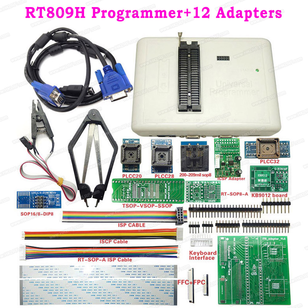 RT809H Universal EEPROM Programmer 12 / 21 Items + SOP8 Adapter Sockets + Test Clip Replace RT809H TL866II Plus USB Programmer