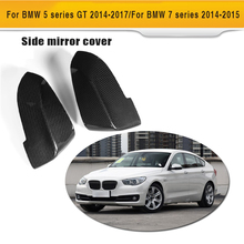 Carbon Fiber Auto Side Review Mirror Caps Cover For BMW 7 Series 730 740 760 5 Series F07 GT 2014UP(China)