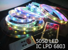 10set/lot DC12v  dream controller+150led 5m waterproof 5050 dream led strip 6803 IC magic color
