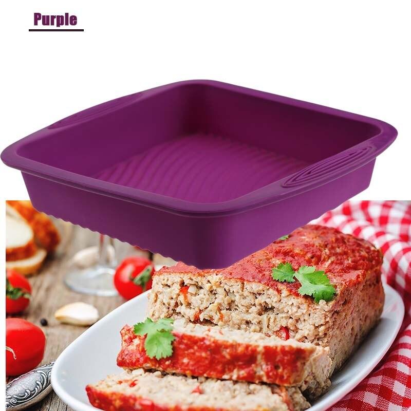 TEENRA 1Pcs 9 inch Silicone Baking Pan Square Baking Dish Bread Baking Forms Silicone Cake Pan Mold Bread Pan Kitchen Tools 7