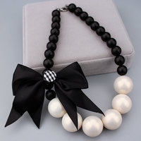 Fashion Pearl Jewelry Charm Black Beads Chain Cute Bowknot Chokers Necklace Big Imitation Pearl Necklaces Jewelry Accessories X1