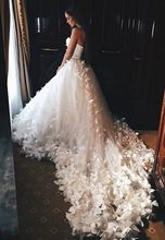 Buy Chapel Train Butterfly Beaded Crystal Ball Gown Wedding Dress Robe De Soiree Ivory Sweetheart Applique Bridal Gown Casamento W70 for $617.50 in AliExpress store