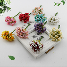 10 pcs berry stamens fake flower cheap artificial flowers for home brides wedding car Gift box decoration Foam Silk DIY wreath(China)