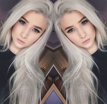 Free Shipping Icy Silver Hair Long Silky Straight Grey Hair Synthetic Lace Front Wig For Women Heat Resistant Fiber Wig