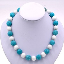 white stone and blue turquoises beaded necklace for fashion womens(China)