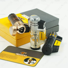 Cohiba  Transparent Gas Butane 3 Torch Jet Flame Cigar Lighter  Cigarette Windproof Lighters Gift Box Refillable  Gadget