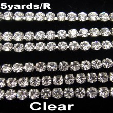 High density SS6 2mm SS8 2.5mm SS10 2.8mm SS12 3mm SS16 4mm crystal clear rhinestone chain Silver cup claw Sew On glue on trim