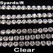High density SS6 2mm SS8 2.5mm SS10 2.8mm SS12 3mm SS16 4mm crystal clear rhinestone chain Silver cup claw Sew On glue on trim(China)