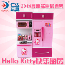 Children Play Sound Light Toy Kitchen Toys Happy Kitchen Chenghai Plastic Toy Manufacturers  Refrigerator Cabinet Suit Food Toys