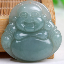 Real jade Buddha pendant A cargo oil green species cuiyu Ice Laughing Buddha Maitreya public jade pendant jewelry(China)