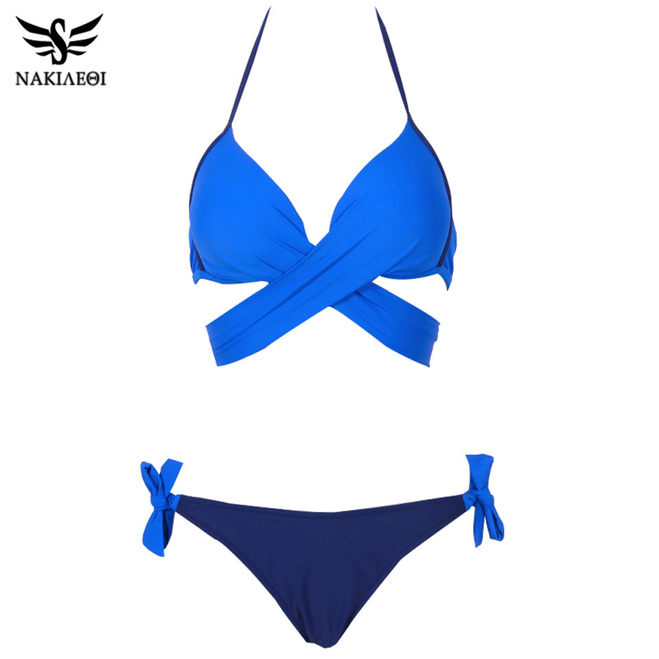 NAKIAEOI 19 Sexy Bikini Women Swimsuit Push Up Swimwear Criss Cross Bandage Halter Bikini Set Beach Bathing Suit Swim Wear XXL 9