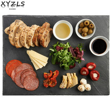 XYZLS Rectangular Natural Slate Tray Environmental Plate Slate Dish Hot Cheese Pizza Stone Steak Plate Flat Plate Fruit Tray