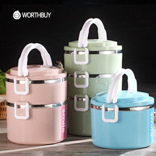 WORTHBUY Japanese High-Capacity Stainless Steel Bento Lunch Boxs With Microwave Interlayer For Kids Food Containers Picnic Set
