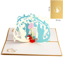 3D Laser Cut 10*15cm Gold Cover Handmade Mom Baby Kids Paper Greeting Cards PostCard Thanksgiving Mother's Day Gift Souvenir