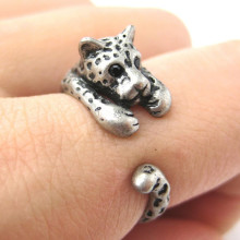Silver Fashion Punk Unisex Girl Women Men Cute Dog Ring Pet Antique Vintage Animal Gift Puppy Wrap Adjustable Ring