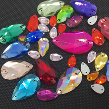 10.5x18mm More Normal color+Top Colors AB Mixed Teardrop Sew On Rhinestones Flatback 2 Holes Droplet Glass Sewing Crystal Beads(China)