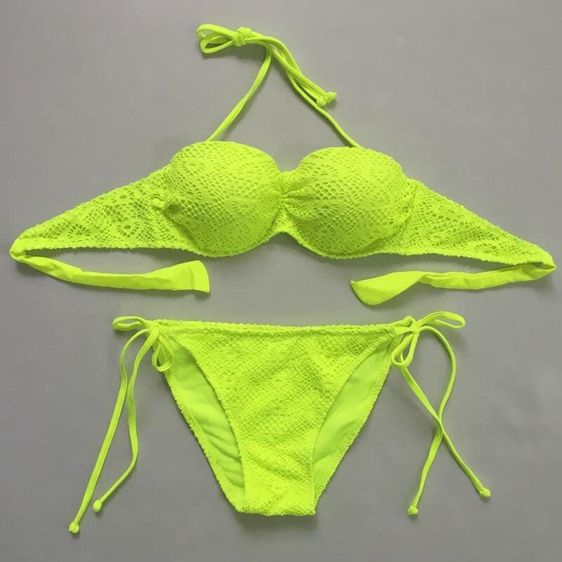 Women plain sexy bikini women PUSH UP swimwear bandeau Halter top bikini hollow lace swimsuit women Strap Bottoms S-XXL<br>