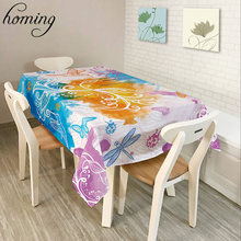 Homing Dustproof Oil-proof Decoration Modern Dinning Table Cloth Colorful Floral Bird World Pattern Covers Table Basse Cloth