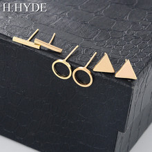 H:HYDE 1 Set=3 pairs High Quality 2017 Fashion Simple Triangle Square Circle Word Ear for Women Geometric Stud Earrings Female(China)