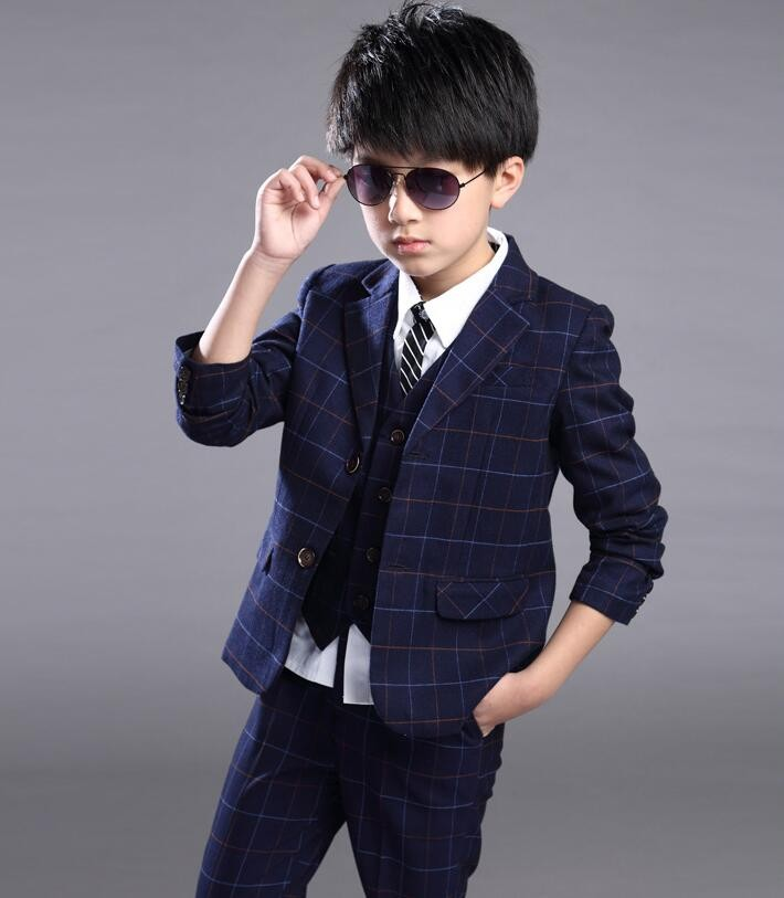 Free Shipping Kids Long Sleeve Suits Set Boys Fashion Grid 3 Pieces Gentleman Suits Kids Handsome Outwear suit for boys<br><br>Aliexpress