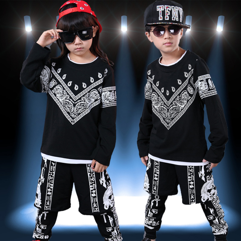 2017  childrens clothing set Costumes jazz Hip Hop black white False two dance Pants &amp; Cashew T-shirt kids  suits twinset<br><br>Aliexpress