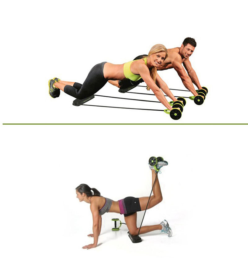 Display of man and woman working out with Ab roller with resistance band Home Gym Kit - Trusted Gadget Store - Highly Reviewed Products That Provide Real Solution To Everyday Problems