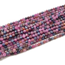 Lii Ji New Arrival Natural Ruby Sapphire Round Shape Faceted beads 4mm DIY Jewelry Making Approx 39cm