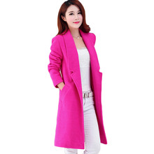 Woman European Design Wool Coats 2017 Autumn Winter Plus Size Solid Color Elegant Woolen Jacket Long Style Slim Overcoat SS754