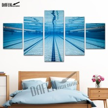 5 Panel Canvas Art Modern Swimming Pool Painting Prints Canvas Wall Art Picture For Home Decoration Ready to Hang(Hong Kong)