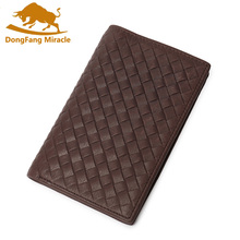 DongFang Miracle New 100% Genuine Leather Men Wallets vintage Reticular Pattern Vertical Mens Bifold Wallet Purse(China)