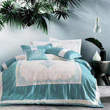 4pcs High quality Egypt Cotton Embroidered Bedding set soft silky Duvet Cover set Bed Linen bedSheet Queen King Size bed set(China)
