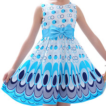 2017 Summer Baby Girls Fashion Dress Children Princess Peacock Pattern with Bowknot Cotton Sleeveless Vestidos Kids Cute Clothes