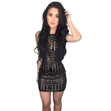2017New Arrival Women Summer Sexy Mini Nightclub Dress Slim Design Sequins Position Cutting Dress Fitting Effect Super Wonderful(China)
