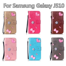 Hot Sales Diamond Love Shape For Samsung Galaxy J510 Have Bracket Practical Resistance To Fall Retro PU Leather Protective Cover
