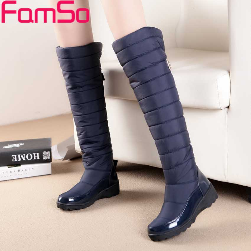 2017 New Arrive Keep Warm Snow Boots Fashion Thick Fur Platform Knee High Winter Boots For Women Shoes Drop shipping Russia<br><br>Aliexpress