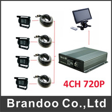 4CH Vehicle Mobile Car Dvr For Bus Taxi Train +rear Waterproof View IR Camera+7.0inch monitor(China)