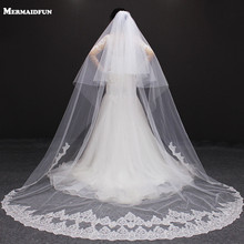 velos de novia 3 Meters 2T White&Ivory Sequins Blings Sparkling Lace Edge Purfle Long Cathedral Wedding Veils(China)