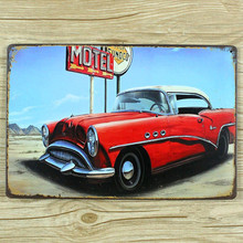 free shipping  metal painting about motel car  vintage signs wall art craft UA-0095  home decor vintage  for bar  20x30cm