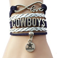 Infinity Love Dallas Cowboys Team Bracelets- Drop Shipping NCAA Football Leather Suede Bracelets Bangle Gift