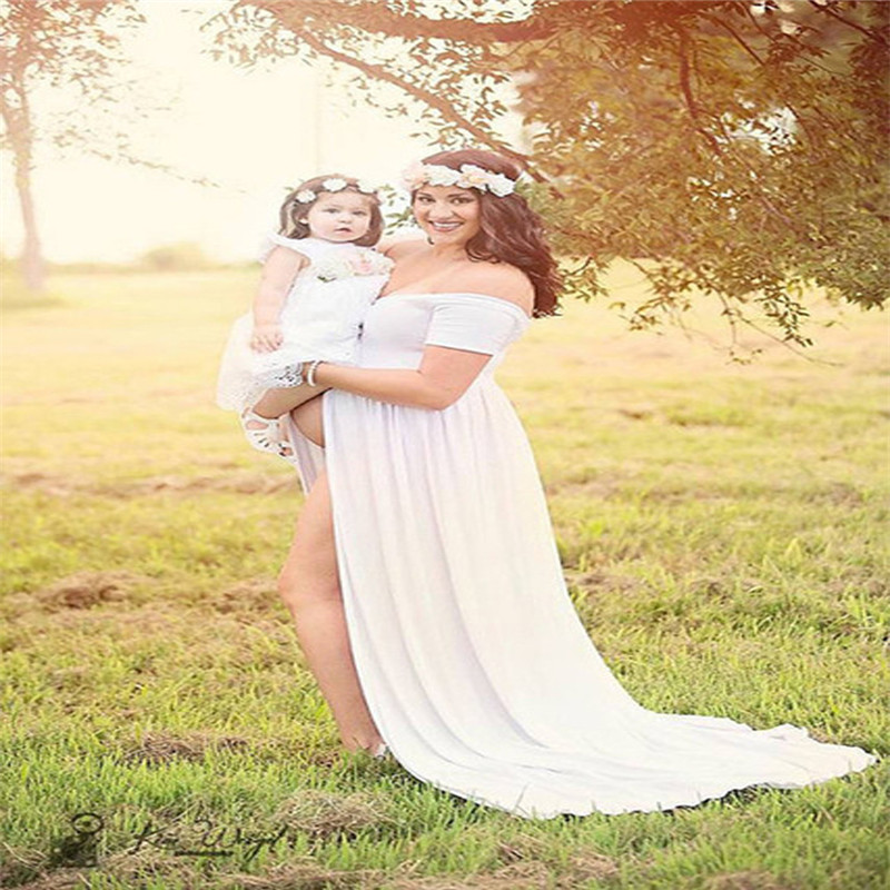 Maternity Dress For Photo Shooting Boat Neck White Dress Maternty Photography Props Short Sleeve Stretch Cotton Pregnant Dress<br>