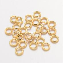 Brass Jump Rings, Close but Unsoldered, Golden, 4x0.8mm; about 22000pcs/1000g(China)