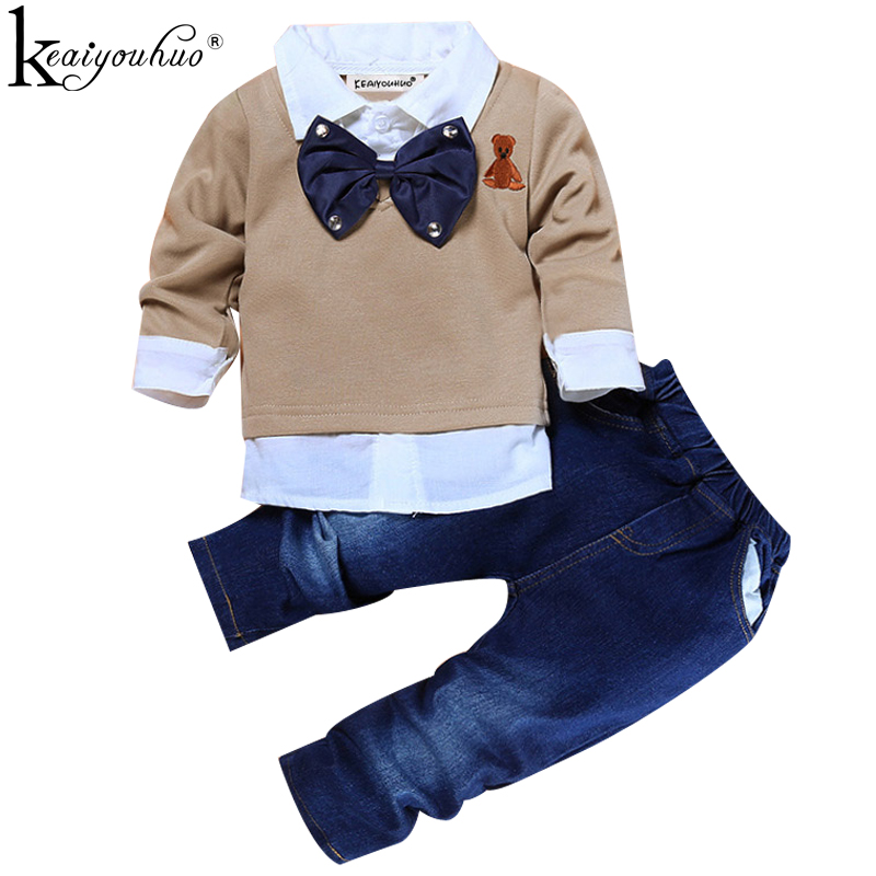 Toddler Boys Clothes Christmas Outfits Kids Clothes Winter Boys Gentleman Suits Children Clothing Sets T-shirt+Jeans Sport Suit