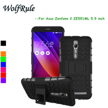 WolfRule Asus Zenfone 2 ZE551ML Case Cover 5.5'' Soft Silicon +Plastic Case For Asus ZenFone 2 ZE551ML Phone Holder Stand Funda<